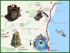 Chennai Kodiyakarai Shortest Route Bike Riders