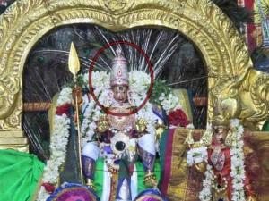 Singaravelavar Temple Statue Sweating Sikkal